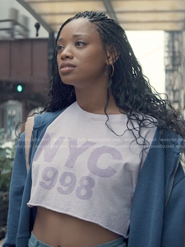Neveah's purple NYC 1998 crop tee on Tiny Pretty Things