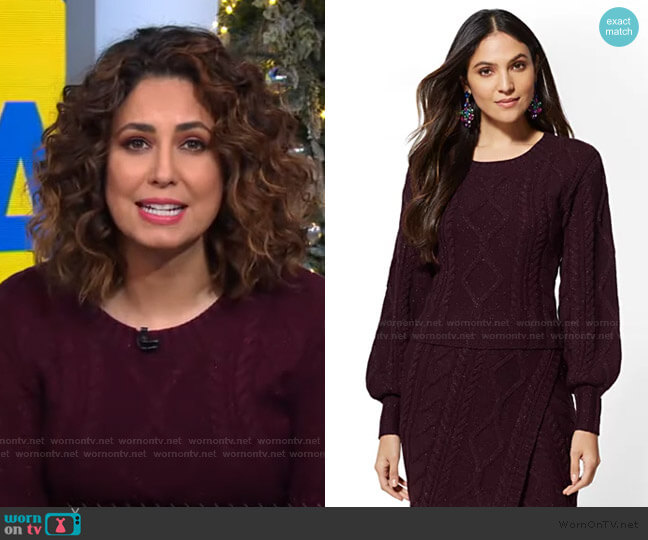 Cable-Knit Sweater - 7th Avenue by New York & Company worn by Cecilia Vega  on Good Morning America