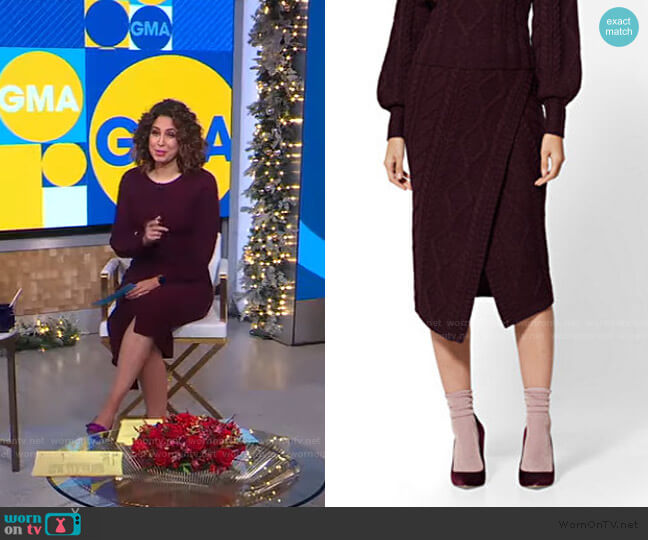 Cable-Knit Sweater Skirt - 7th Avenue by New York & Company worn by Cecilia Vega  on Good Morning America