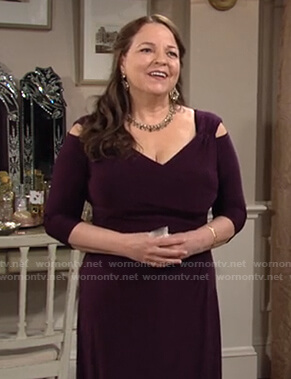 Nina's purple cold-shoulder dress on The Young and the Restless