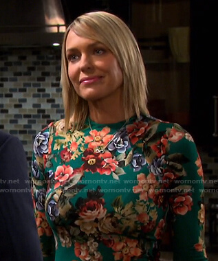 Nicole's green floral print dress on Days of our Lives