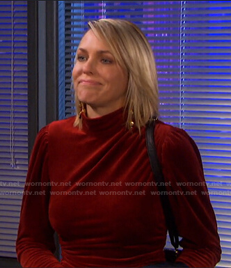 Nicole's red mock neck velvet dress on Days of our Lives