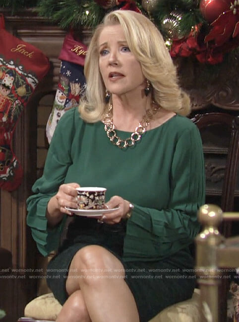 Nikki's green pleated sleeve top on The Young and the Restless