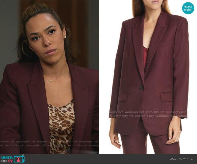 Nili Lotan Diane Stretch Wool Blazer worn by Emily Lopez (Jessica Camacho) on All Rise