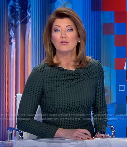 Norah's green cowl neck dress on CBS Evening News
