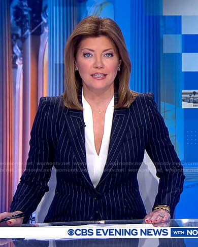 Norah's navy pinstripe suit on CBS Evening News