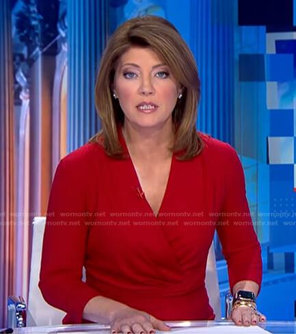 Norah's red surplice peplum dress on CBS Evening News