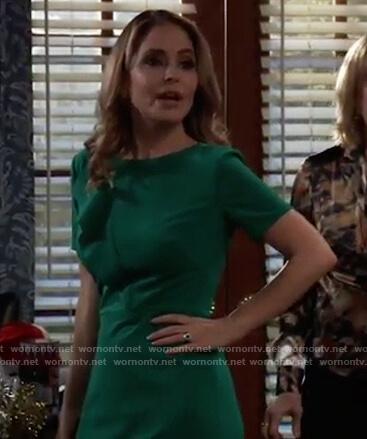 Olivia's green ruffle front sheath dress on General Hospital