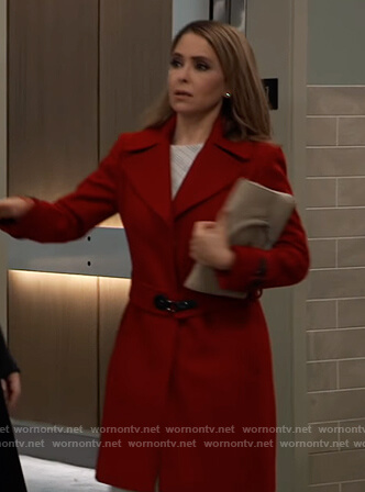 Olivia's red buckle belted coat on General Hospital