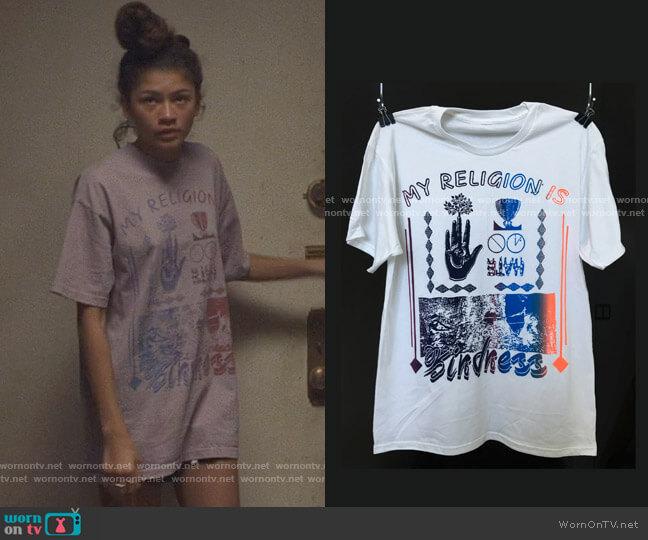 Online Ceramics My Religion is Kindness T-shirt worn by Rue Bennett (Zendaya) on Euphoria