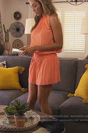 Tayshia's orange halter smocked mini dress on The Bachelorette