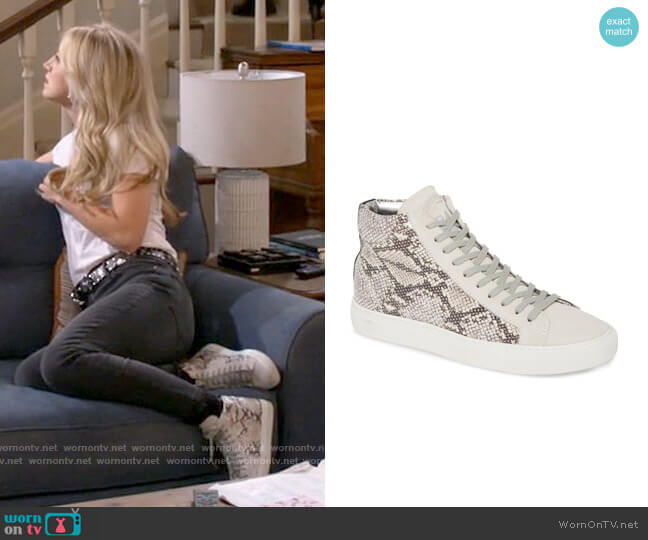 P448 Star Snakeskin Print High Top Sneaker worn by Gina Dabrowski (Annaleigh Ashford) on B Positive