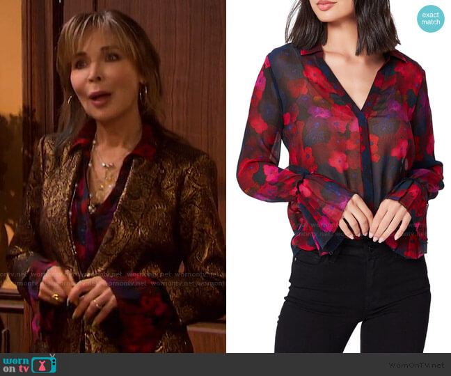 Abriana Floral Blouse by Paige worn by Kate Roberts (Lauren Koslow) on Days of our Lives