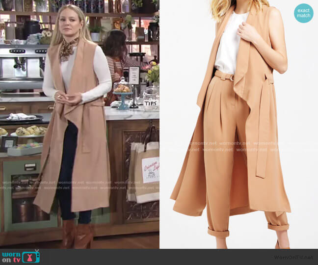 Sleeveless Draped Longline Jacket With Tie Belt by Paisie worn by Sharon Collins (Sharon Case) on The Young & the Restless