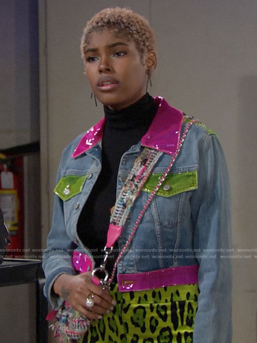 Paris's multi-colored trim denim jacket on The Bold and the Beautiful
