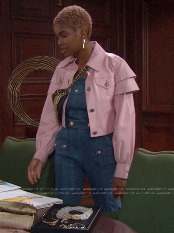Paris's pink leather jacket on The Bold and the Beautiful