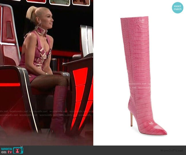Croc Embossed Knee High Boot by Paris Texas worn by Gwen Stefani  on The Voice