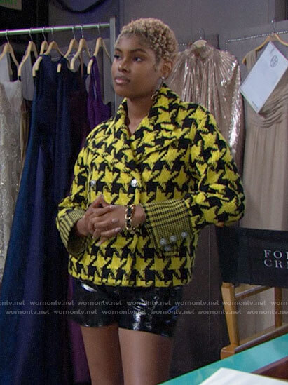 Paris's yellow houndstooth jacket on The Bold and the Beautiful