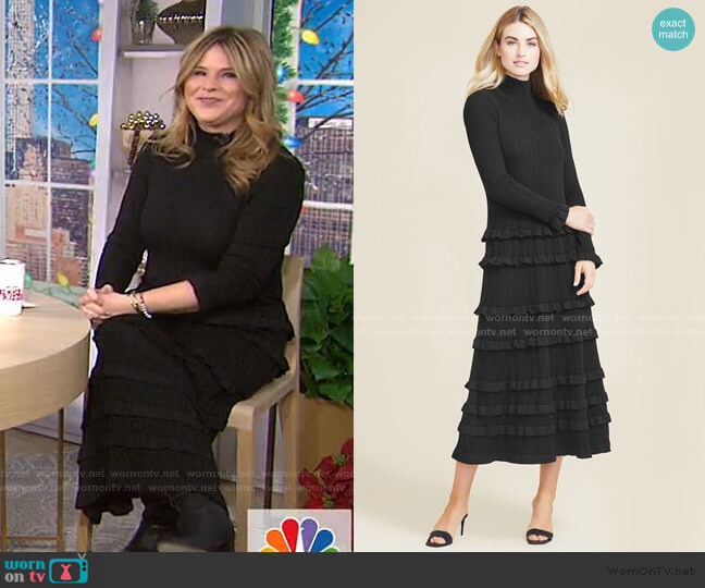 Ruffle Knit Dress by Pearl by Lela Rose worn by Jenna Bush Hager  on Today