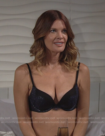 Phyllis's black and navy bra on The Young and the Restless