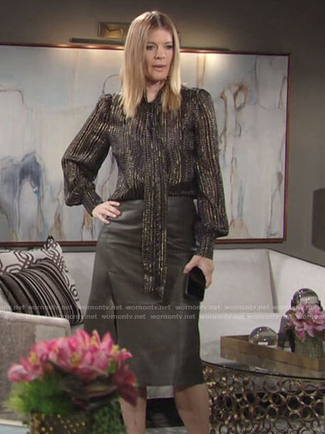 Phyllis's metallic tie neck blouse and leather skirt on The Young and the Restless
