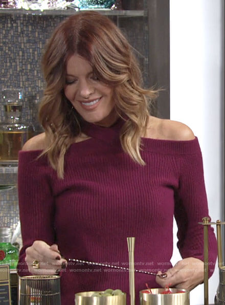Phyllis's magenta open shoulder sweater on The Young and the Restless