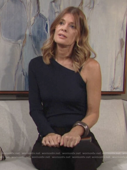 Phyllis's navy one-shoulder top on The Young and the Restless