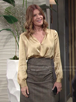 Phyllis's yellow satin blouse on The Young and the Restless