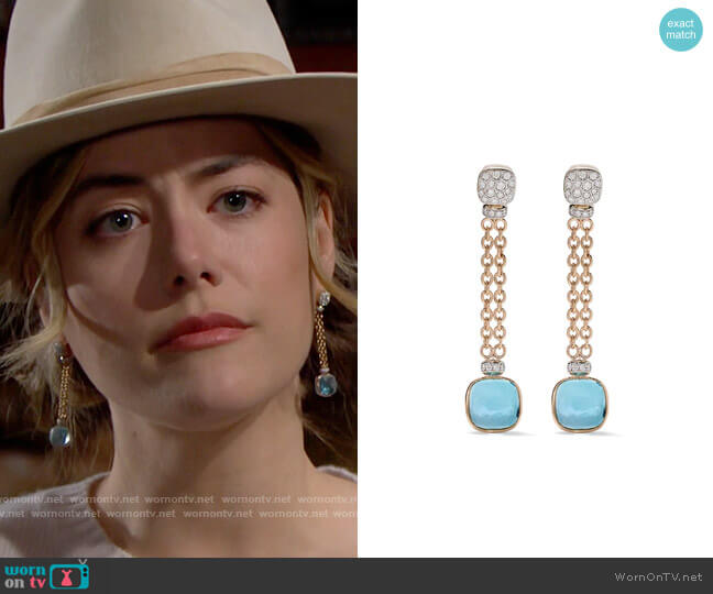 Pomellato 18kt rose and white gold Nudo sky blue topaz and diamond drop earrings worn by Hope Logan (Annika Noelle) on The Bold & the Beautiful