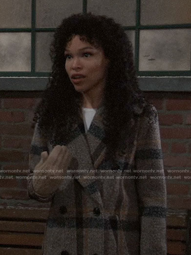 Portia's checked coat on General Hospital