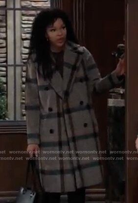 Portia's check double breasted coat on General Hospital