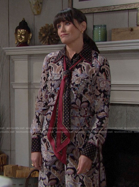 Quinn's floral and polka dot tie neck blouse and matching pants on The Bold and the Beautiful