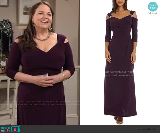 Cold-Shoulder Gown by R & M Richards worn by Nina Webster (Tricia Cast) on The Young & the Restless