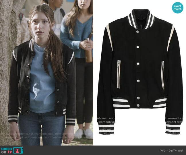 Baela suede bomber jacket by Rag and Bone worn by Natalie (Makenzie Moss) on The Unicorn