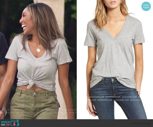 The Vee Tee by Rag and Bone worn by Tayshia Adams  on The Bachelorette