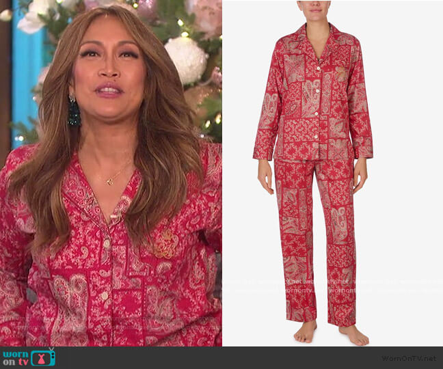 Printed Woven Pajama Set by Ralph Lauren worn by Carrie Inaba  on The Talk