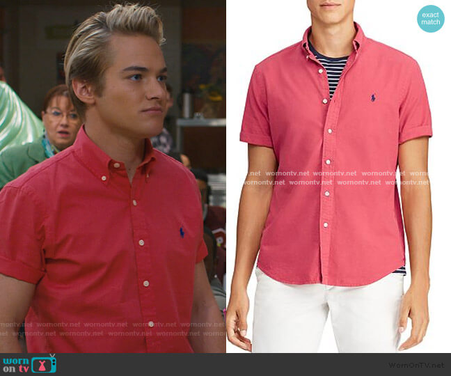 Short-Sleeve Classic Fit Button-Down Shirt by Polo Ralph Lauren worn by Mac Morris (Mitchell Hoog) on Saved By The Bell