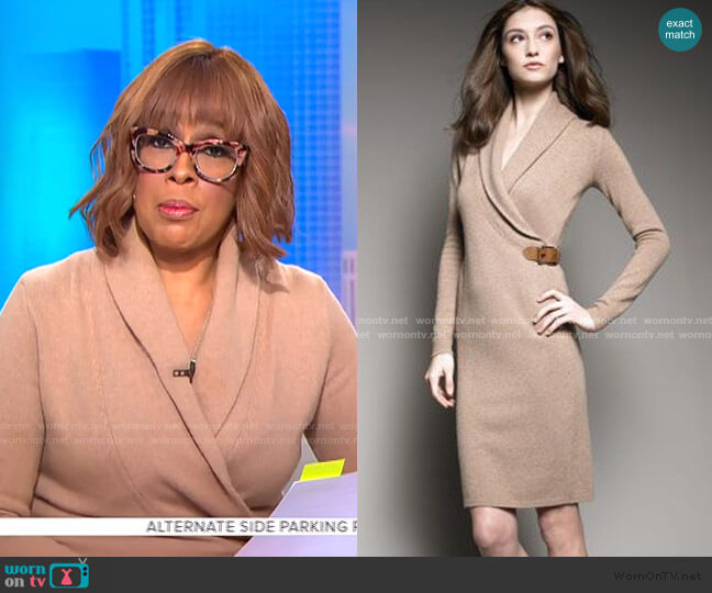 Sweater Wrap Dress by Ralph Lauren worn by Gayle King  on CBS Mornings