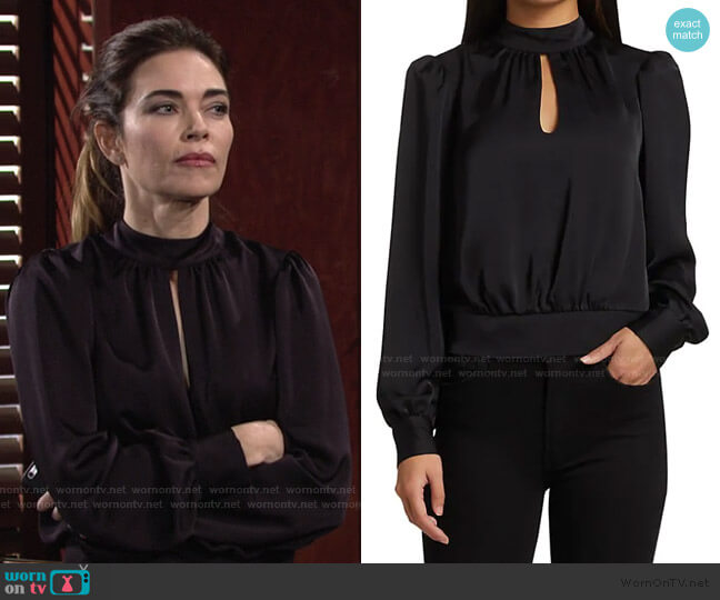 Angela Puff-Sleeve Top by Ramy Brook worn by Victoria Newman (Amelia Heinle) on The Young & the Restless