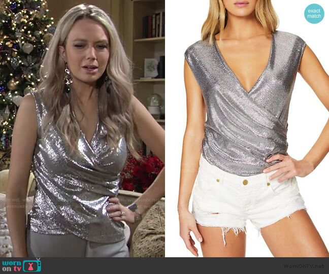 Rumi Faux-Wrap Foil Top by Ramy Brook worn by Abby Newman (Melissa Ordway) on The Young & the Restless