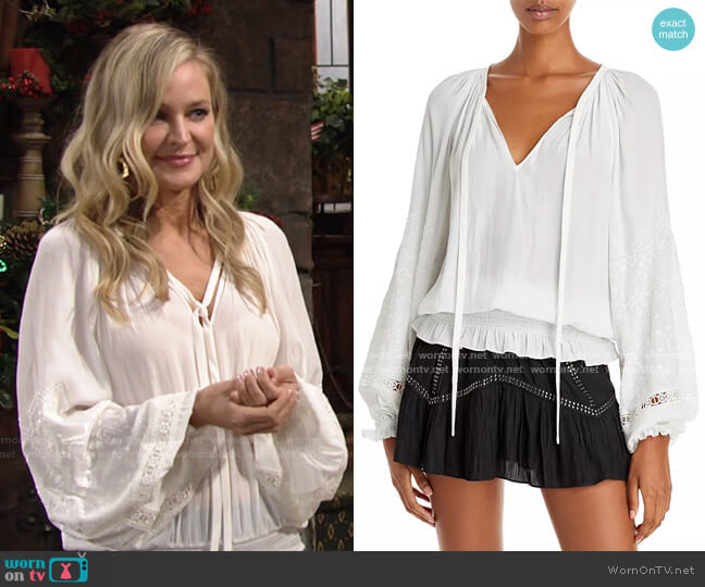 Romy Embroidered Peasant Top by Ramy Brook worn by Sharon Collins (Sharon Case) on The Young & the Restless