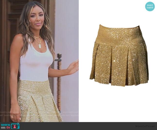 Cheerleader Cystal Khaki Skirt by Randi Rahm worn by Tayshia Adams  on The Bachelorette