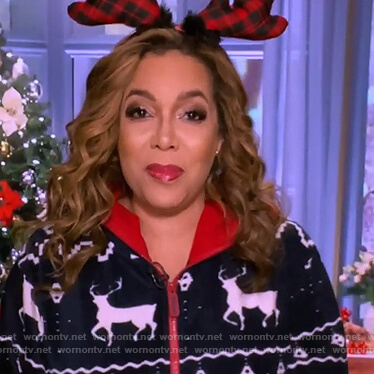 Sunny's blue reindeer jumpsuit on The View