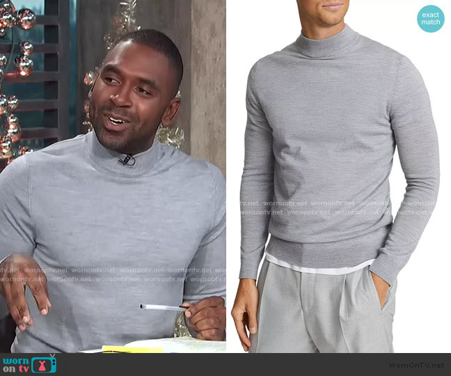 Slim Fit Wool Turtleneck Sweater by Reiss worn by Justin Sylvester  on E! News