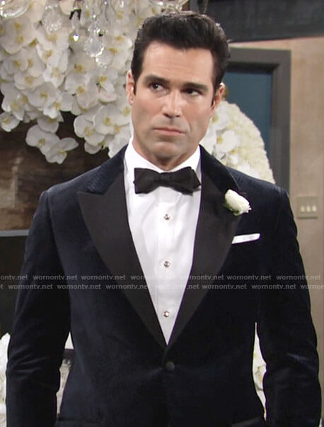 Rey's navy blue velvet suit jacket on The Young and the Restless