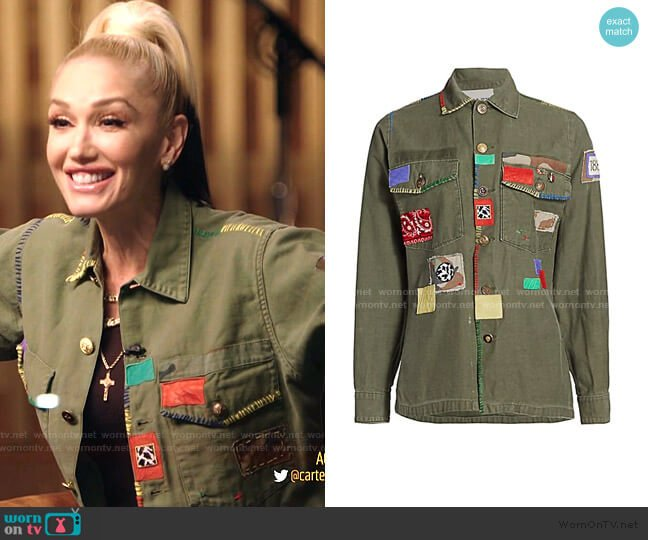Simon Patchwork Cargo Jacket by Riley worn by Gwen Stefani  on The Voice