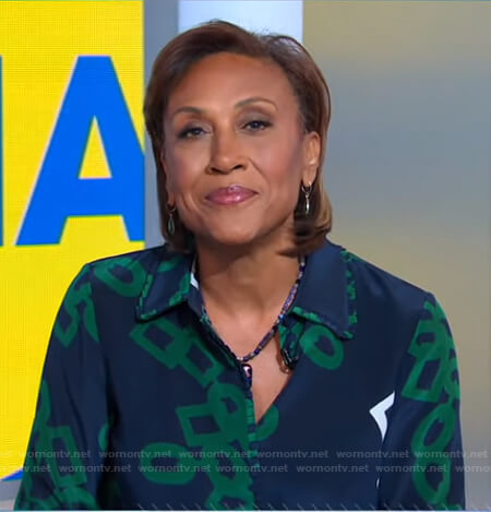 Robin's navy and green link print blouse on Good Morning America