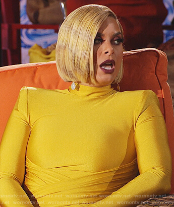 Robyn's yellow wrap front reunion dress on The Real Housewives of Potomac
