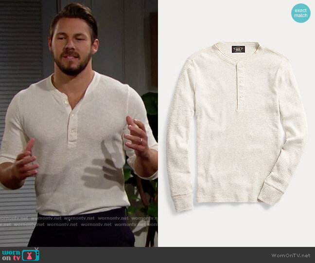 RRL Waffle-Knit Henley Shirt worn by Liam Spencer (Scott Clifton) on The Bold & the Beautiful