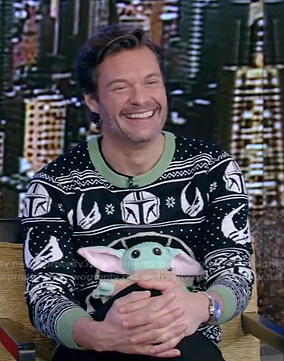 Ryan's Star Wars Yoda Christmas sweater on Live with Kelly and Ryan